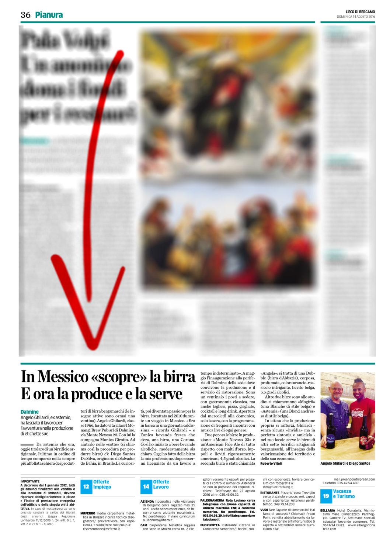 14-08-2016 ''L'Eco di Bergamo''